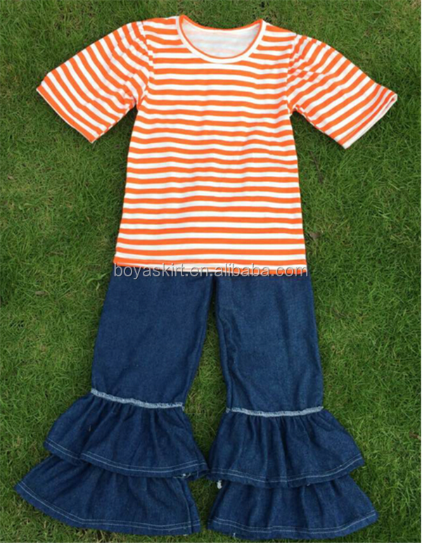 Good Quality Summer New Korean Children's Clothing Girls Short Sleeve Stripes Top and Denim Pant Suit