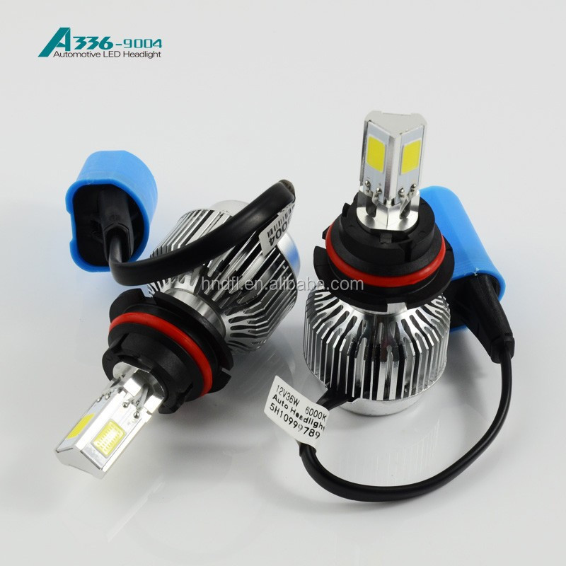 9004 auto COB LED headlight A336 auto LED bulb 36W 3300LM car headlight CE.ROSH,DOT approved