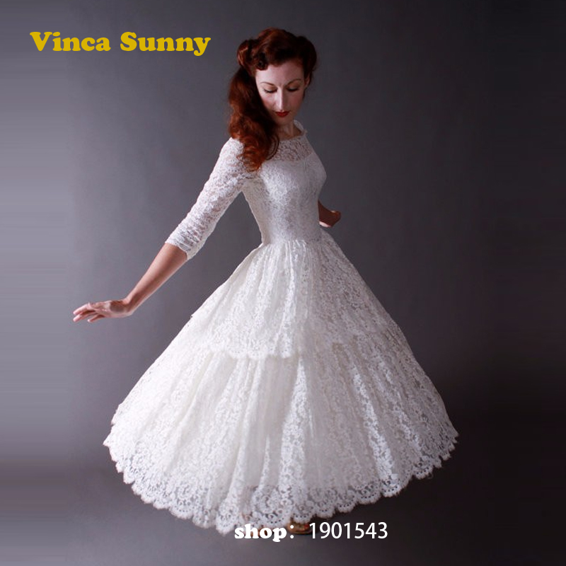 Simple Ankle Length Lace Wedding Dresses White Three: Online Buy Wholesale Perfect Country From China Perfect