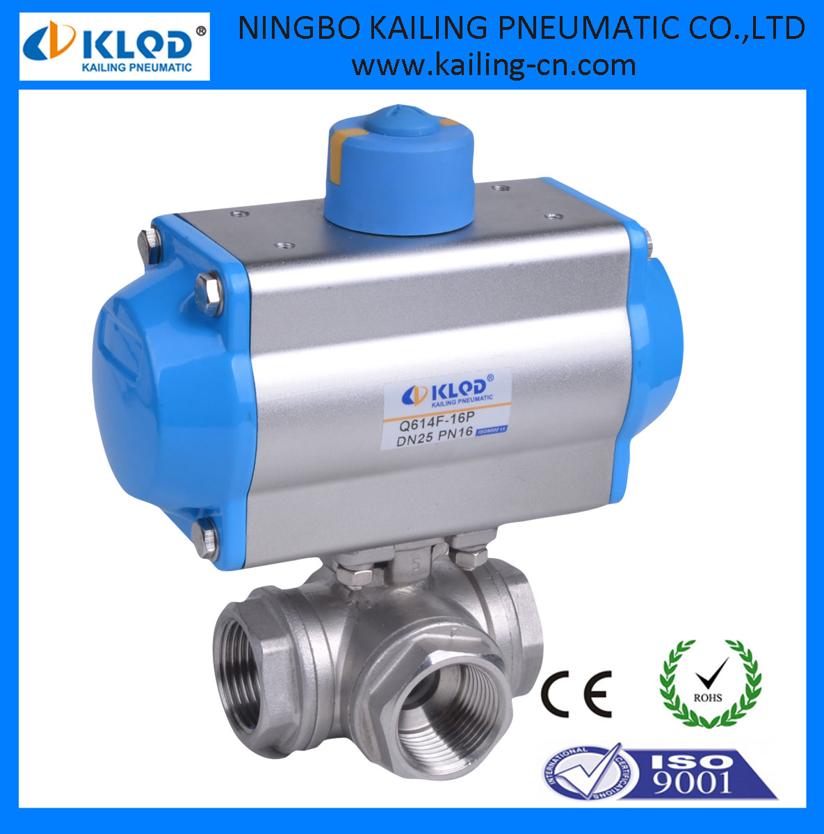 3 Way Ball Valves With Pneumatic Actuator Double Acting Dn50 Klqd ...