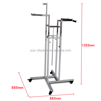 Metal Four Ways Clothing Display Rack Stand made in China clothes hanger on start a clothing business