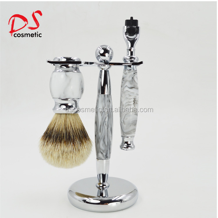 Dishi 3 layer High Quality Shaving Kit for Men with Badger Shaving Brush