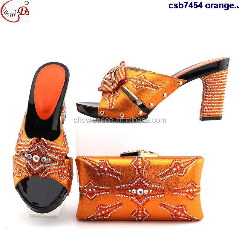 orange Bag and Party Italy Women Bags Shoe csb7454 Shoe Bag Set and Shoes Ladies Matching and Italy gdWqxwTpZ