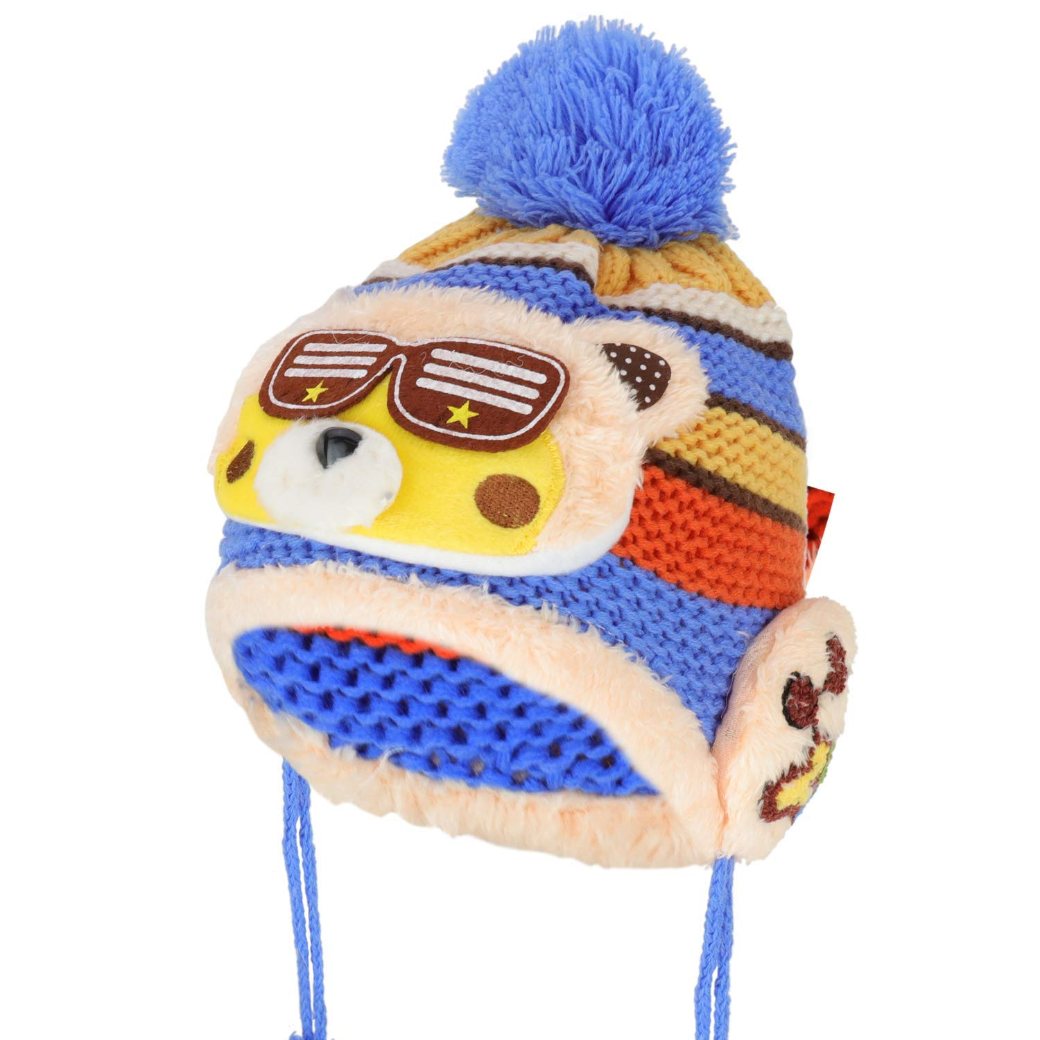 d994a30d4dd Get Quotations · Trendy Apparel Shop Kid s Racoon Animal Fur Trimmed Pom  Knit Beanie Hat