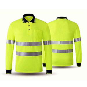 Reflective Long Sleeve polo shirt HIGH Visibility silver Reflective tapes Wear For Running In The Dark