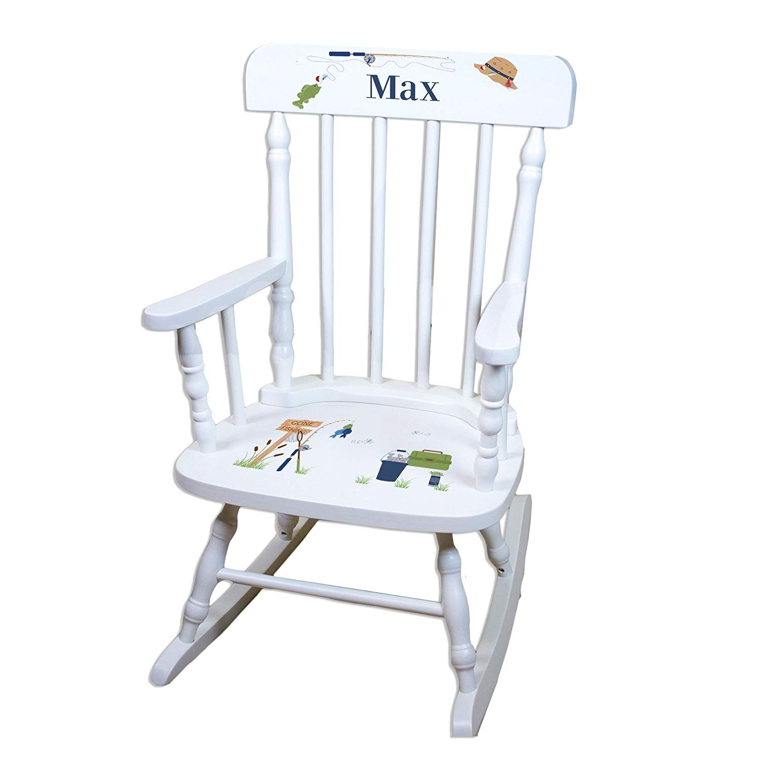 MyBambino Personalized Gone Fishing White Wooden Childrens Rocking Chair