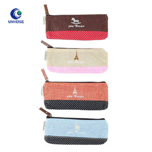 Custom Design Promotional Small Zipper Cosmetic Makeup Jute Pencil Bag With Embroidery