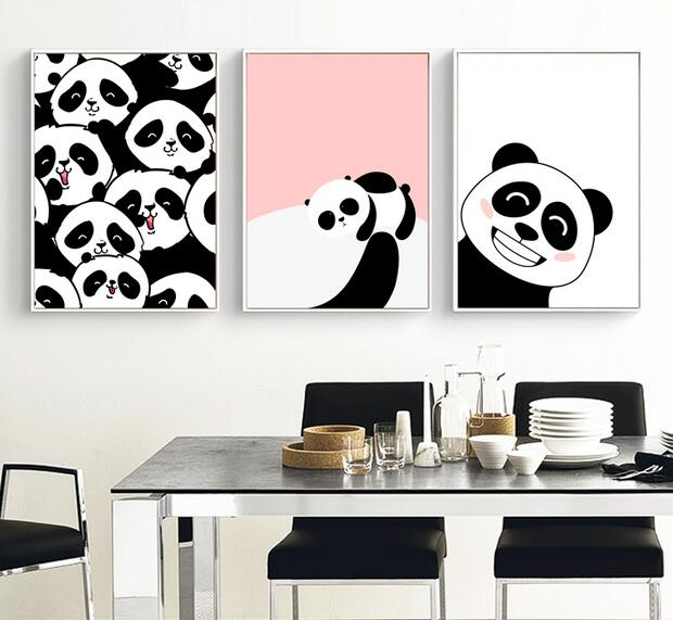 Modern Kawaii Animal Pandas In The World Wall Art Picture Kids Baby Room Decor Painting Canvas Print Poster Nursery Unframed Calligraphy