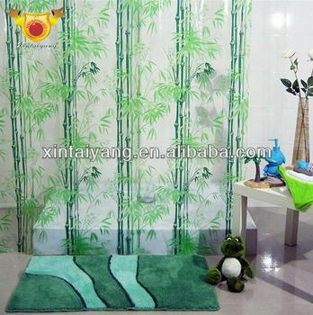 Floret Decorative Printed Bathroom Pvc Plastic Transpa Shower Curtain Peva