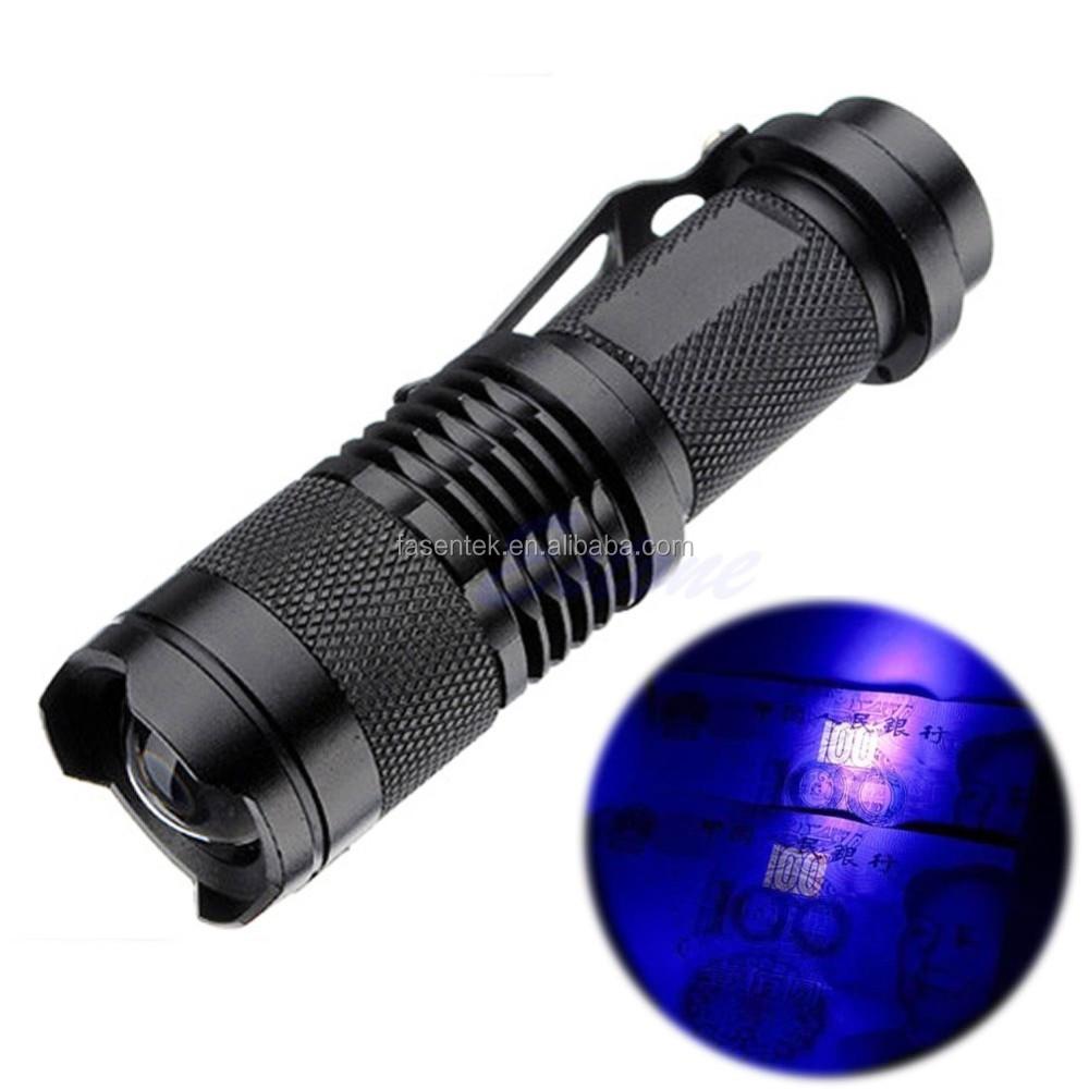 Zoomable Led Uv Flashlight Torch Ultra Violet Light Uv 395nm Purple Flashlight