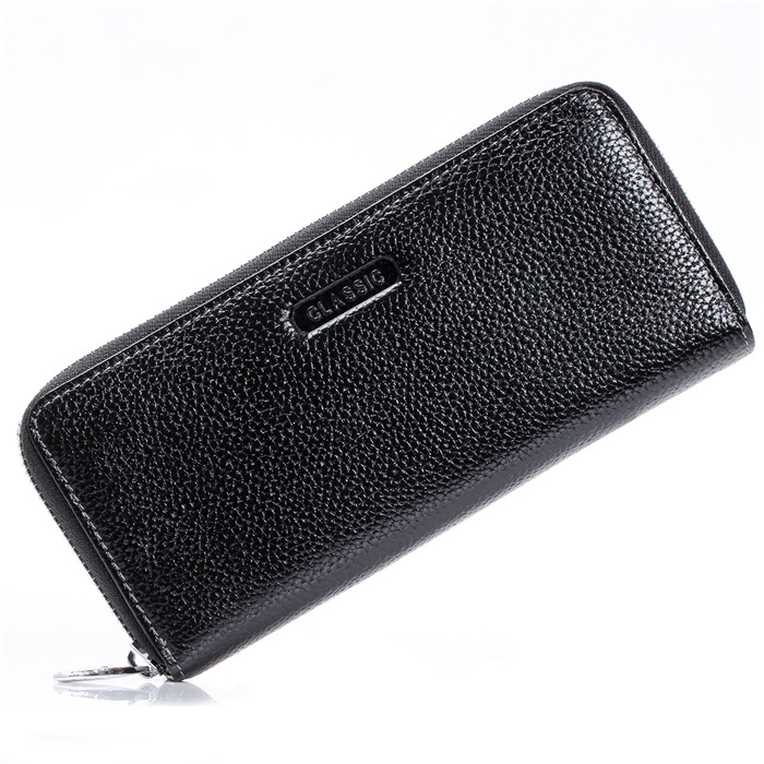 Unisex Womens Lady's Mens Black Real Genuine Leather Long Wallet Purse Checkbook Credit Card Slots ID Zipper Pocket Large Space
