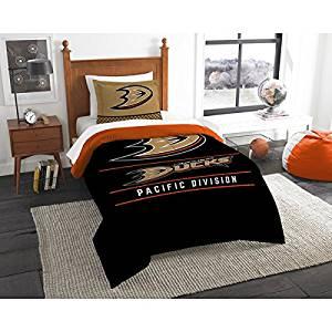 2 Piece NHL Anaheim Ducks Comforter Twin Set, Sports Patterned Bedding, Featuring Team Logo, Fan Merchandise, Team Spirit, Ice Hockey Themed, National Hockey League, Black Multi, For Unisex