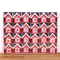 2019 Wooden Christmas Advent Calendar Mini Houses 24 Hanging Ornaments