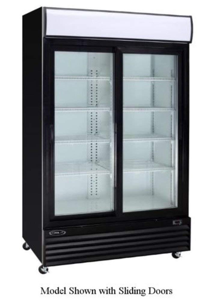 """Empura EGM-50B 50 cubic feet Double Swing Glass Door 52.4"""" Merchandiser Refrigerator with Double Pane Locking Doors and Adjustable Shelves, Black Exterior"""