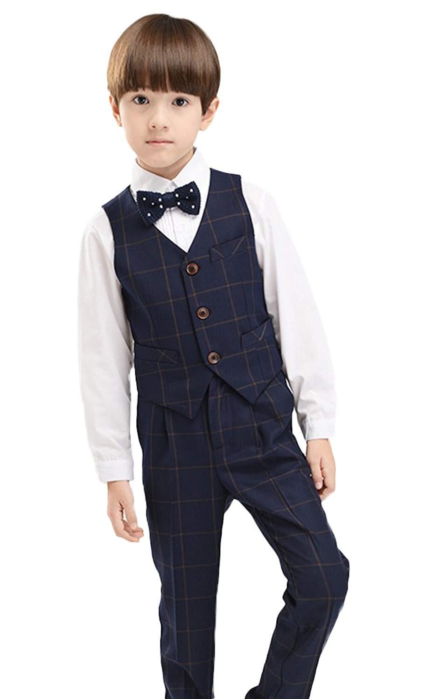 SK Studio Boys' 4-Piece Wedding Slim Fit Plaid Regular Suits