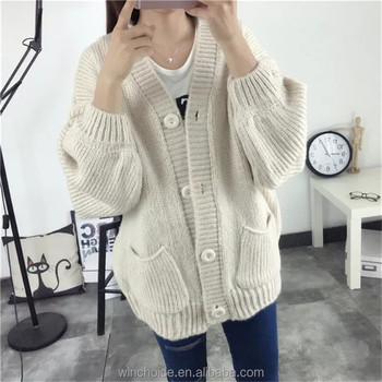3167add2a29 Ladies Handmade Knitting Sweaters Cardigan 2017 Women V Neck Sweater ...
