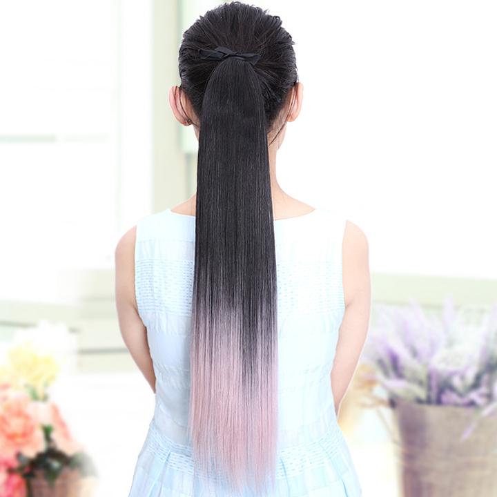 Мода два тона прямо шнурок хвост волос шиньоны, Платье , танцы ломбер поддельные синтетический цвет хвост наращивание волос