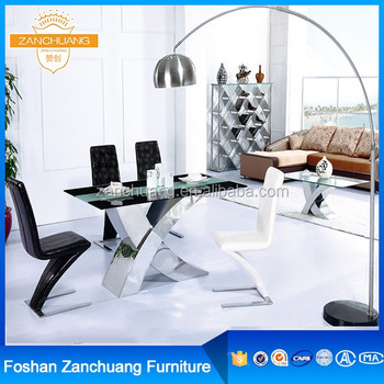 X Shape Metal Base Tempered Glass Dining Table