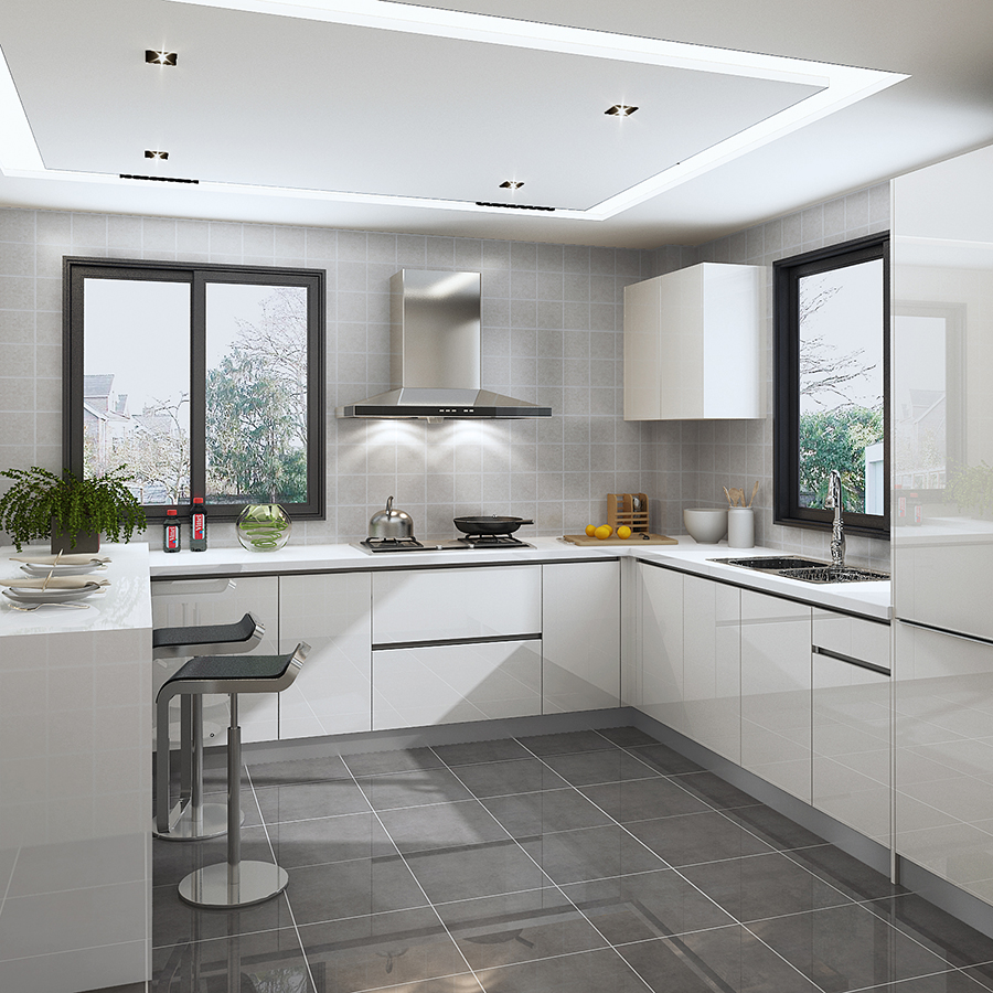 High gloss lacquer white kitchen set with breakfast bar top