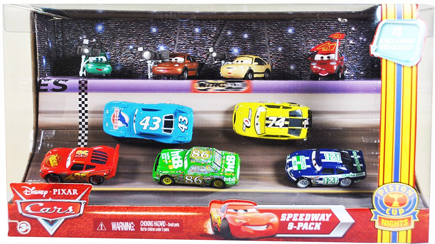 "Disney Pixar Movie Series ""Cars"" EXCLUSIVE Piston Cup Nights Racing Series Speedway 9-Pack Set with Dash Boardman, Houser Boon, Tim Rimmer, Timothy Twostroke, Lightning McQueen, The King, Chick Hicks, Sidewall Shine No.74 and Clutch Aid No. 121"