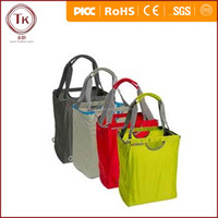400D nylon foldable reusable shopping bag with metal frame