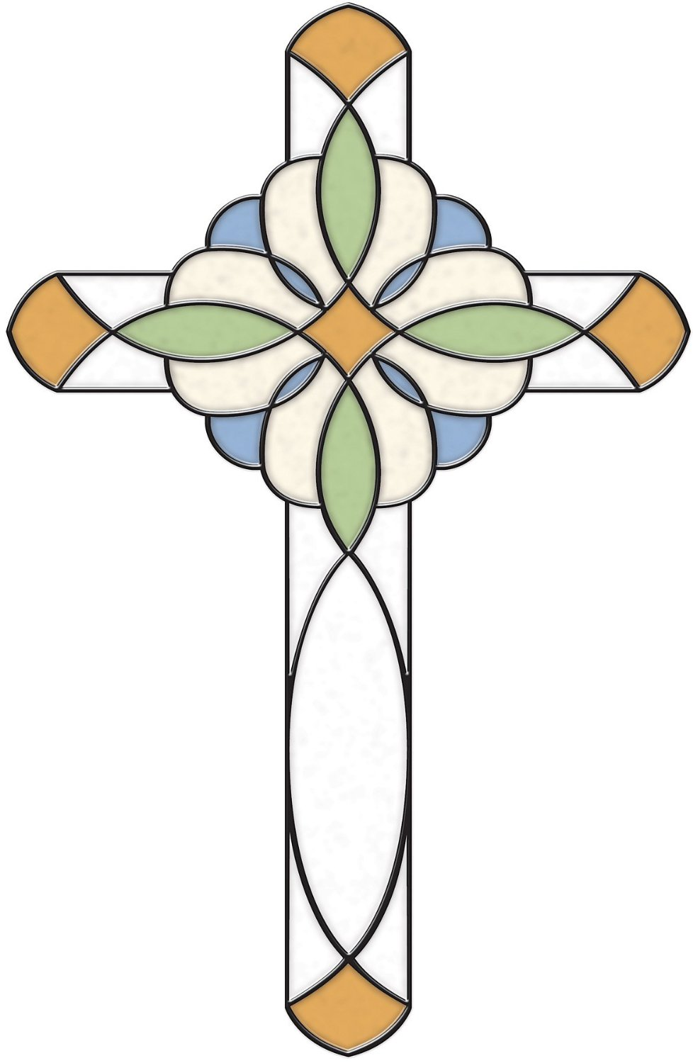 Brewster SG0372 7.7-Inch-by-10.5-Inch Amber Blue Cross Stained Glass Applique