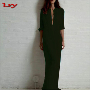 Fashion Vestidos 2017 Autumn Women Sexy Casual Dress Long Sleeve Deep V Neck Linen Split Solid Long Maxi one piece Dress