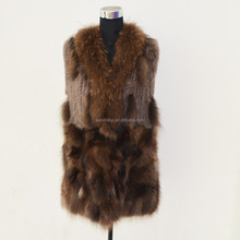 SJ367-04 Mexico Favored Quick Shipping Custom Woman Long Vest with Natural Fur