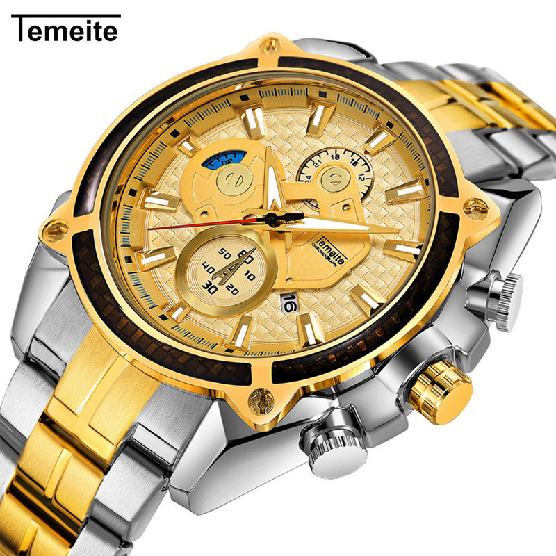 Temeite 10Color <strong>Hot</strong> Sale Stainless Steel Watch Men Wrist Top Luxury Brand Wristwatches Men Analog Digital Waterproof Watch Wrist