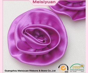 Wholesale Valentine organza rose make ribbon flowers,satin ribbon handmade flowers