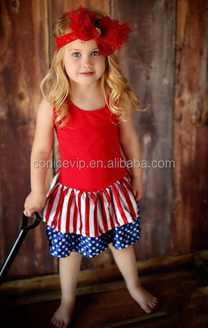 wholesale trendy plus size clothing toddle outfit girls boutique clothing July 4th clothing set