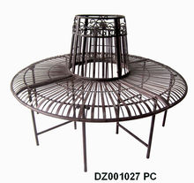 decorative antique wrought iron garden tree bench