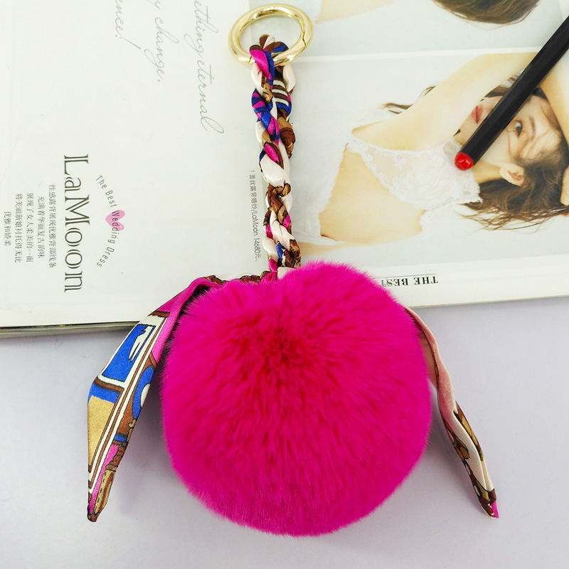 Multicolor Scarf Ribbon bows Fur Pom Ball Promotive Gift Keychain