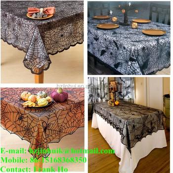 Halloween Tablecloths Midnight Black Spider Web Lace Tablecloth / Halloween  Lace Table Topper / HOLIDAY TABLECLOTHS