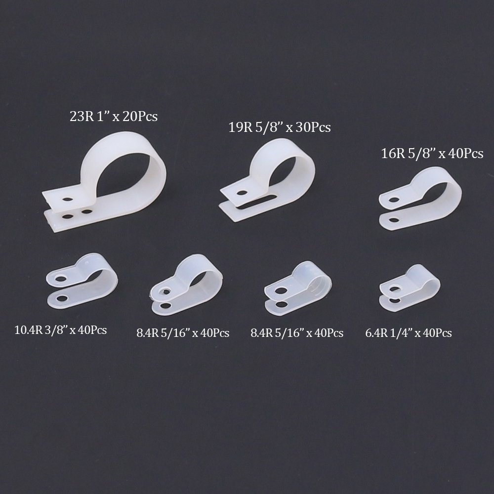 Findfly 250Pcs 7 Sizes White Nylon R-type Cable Clamp Organizer Cord Clips For