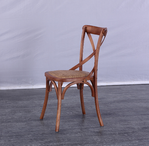 Event Banquet Furniture Cross Back Wood Chair with Rattan Seat