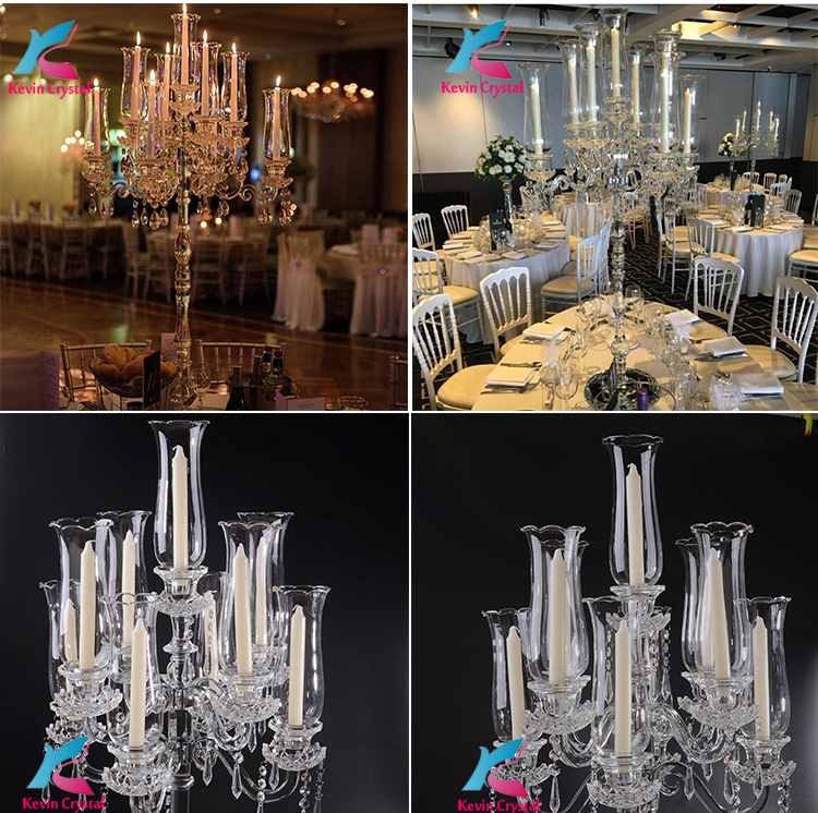 K-1084 tall crystal decoration crystal floral wedding candelabra