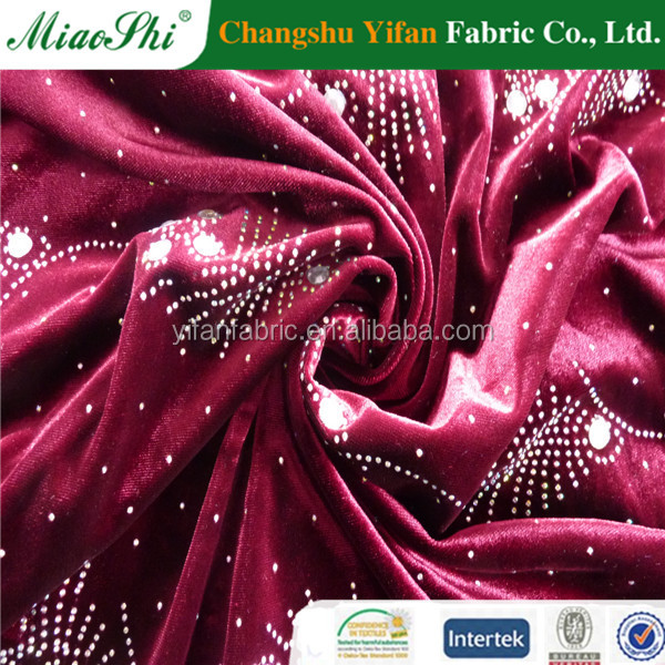 Sell well german machine produce KS two tone velvet with diamond fabric for Elsa dress