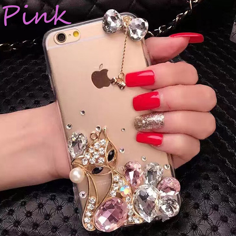 For iphone6 6p phone cases with diamond fox high quality TPU cell phone cover