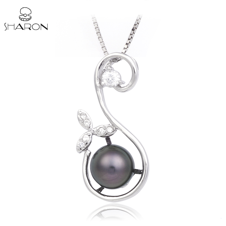 High-Quality 8-10mm AAAA Long Natural Pearls Pendant Sterling Silver Necklace Jewelry