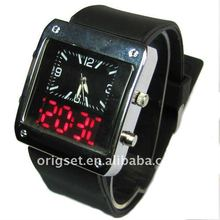 Binary time LED and Quartz Silicon Watch Men