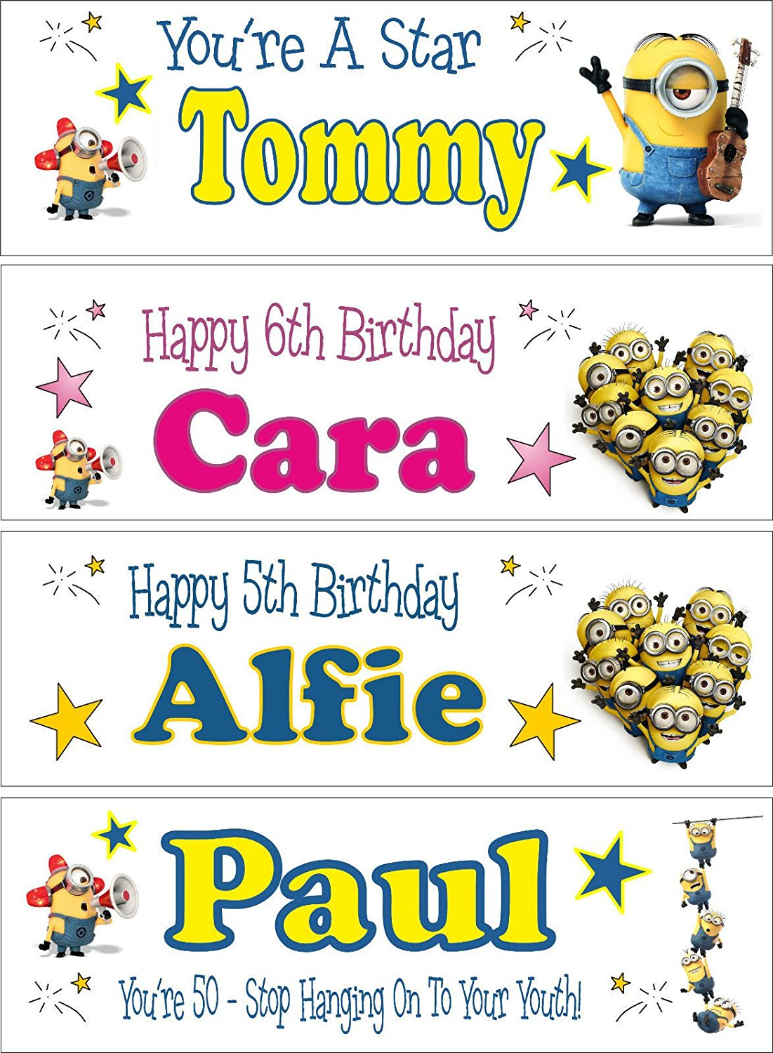 2 Personalised Any Name Age Minions 2nd 3rd 4th 5th 6th 7th 8th Birthday Banners