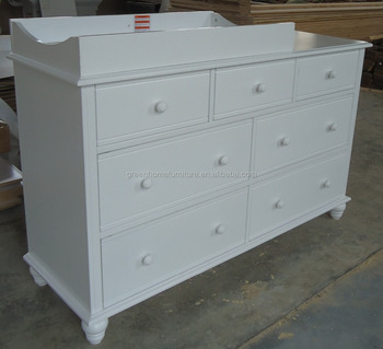 Captivating White NZ Pine Baby Change Table 7 Chest Of Drawers With Change Pad