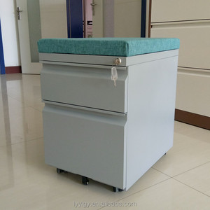 Gooseneck handle 2 drawer mobile pedestal steel drawer cabinet with cushion