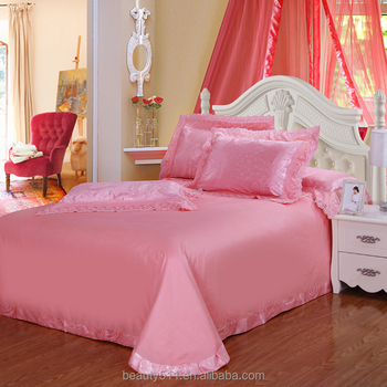 European Style Romantic Bedding Set Satin Bed Sheets Four Piece Pink  Princess Bed Sheets Latest