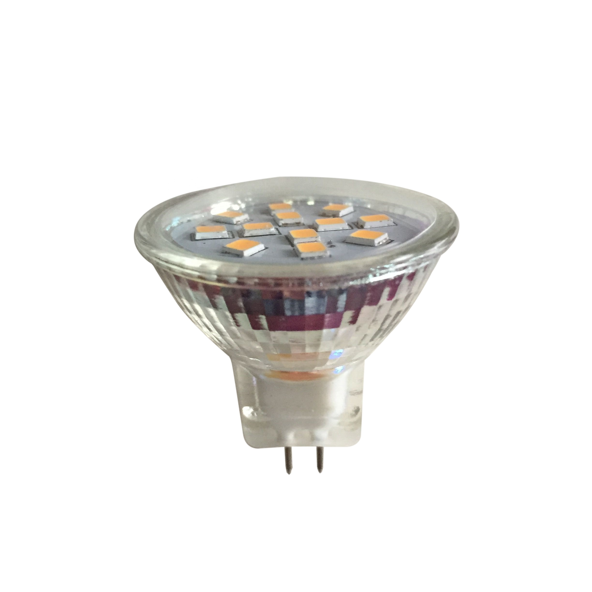glass cover 80Ra 2.4w PMW dimmable 12v mr11 led