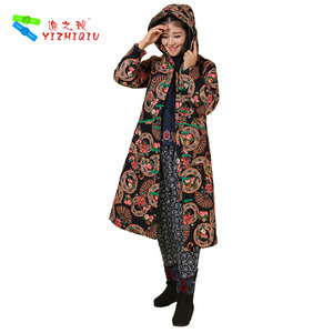 YIZHIQIU Hooded Warm Quilted Cotton Winter Coat Chinese Traditional Clothing For Women