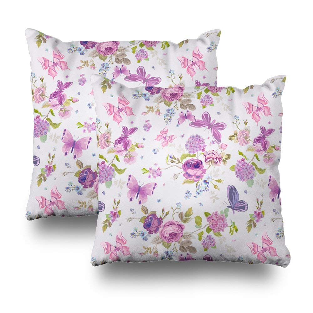 "soopat Decorative Pillow Cover Pack Of 2, 18""X18"" Two Sides Printed Flower Pink English Rose With Decorative Butterfly Throw Pillow Cases Decorative Home Decor Indoor/Outdoor Nice Gift Kitchen Ga"