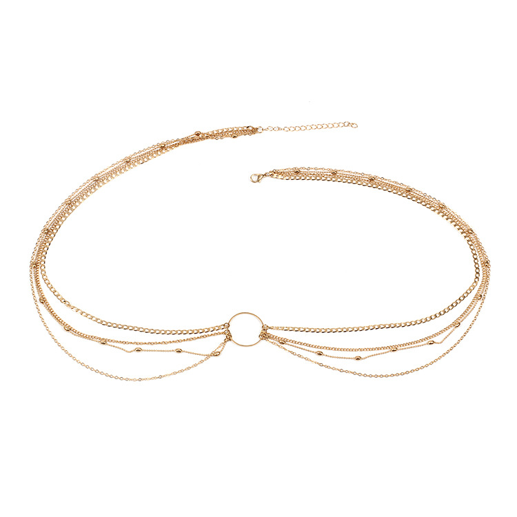 Fashion geometric circle metal multilayer female clothes accessories waist chain