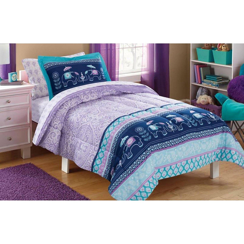 CA 7 Piece Kids Girls Teal Blue Purple Bohemain Comforter Set Full Sized, Blue Boho Chic Elephants Bedding Medallion Paisley White Flowers Pastel Colors Stripes, Polyester